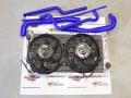 Kit De Refrigeración Renault 4 Rally ( Radiador sobredimensionado + 2 ventiladores + kit 4 manguitos silicona azul )