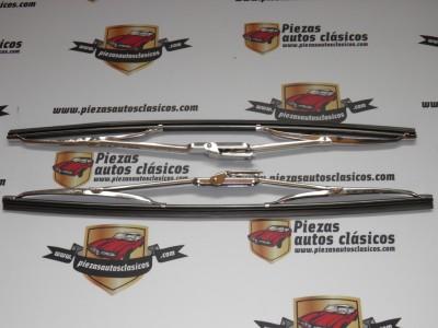 Juego de escobillas limpiaparabrisas cromadas 40cm