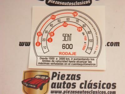 Pegatina Seat 600 D y E Cuadro de velocidades en rodaje