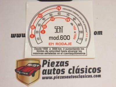 Pegatina Seat 600 N Cuadro de velocidades en rodaje