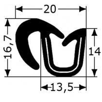 Guía simple cristal corredera Renault 4 para marcos de plástico 2 metros