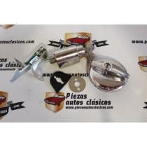 Kit tapón de gasolina y cerradura tapa motor Simca 1000