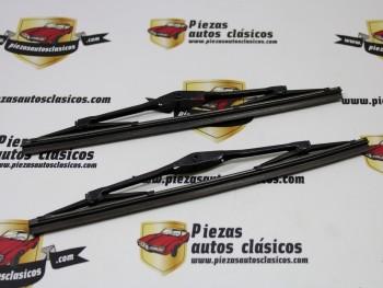 Pareja Escobillas Limpiaparabrisas 28cm Negras Renault 4 y Seat 600 Con Clips de Sujeción (Antiguo Stock)