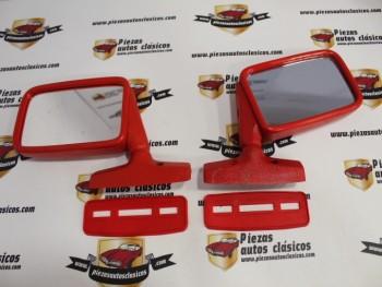 Pareja de espejos retrovisores rojos, adaptable a varios vehículos (antiguo stock, ver fotos)