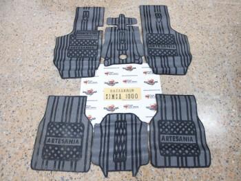 Juego alfombrillas goma negro/gris Simca 1000
