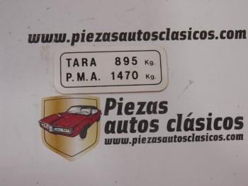 Pegatina TARA PMA 895 KG. Renault Express Ref: 7702146025