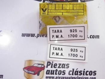 2 Pegatinas TARA PMA 925Kg. Renault Express Ref: 7700271903